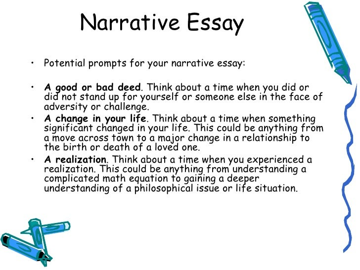 descriptive and narrative essays For narrative essays, the hook is twice as important as it is to other types of essays when you are sharing a personal experience, it should start off in a stimulating and engaging tone that will stir up the readers' attention for them to want to go on listening.