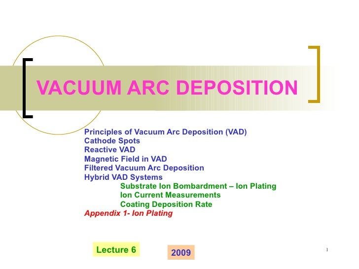 VACUUM ARC DEPOSITION Principles of Vacuum Arc Deposition (VAD) Cathode Spots Reactive VAD Magnetic Field in VAD Filtered ...