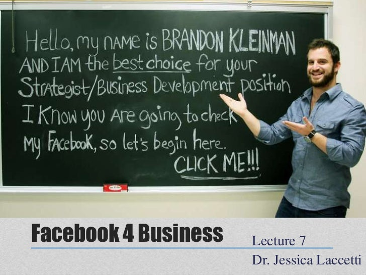 Lecture 7: Facebook Page Assignment