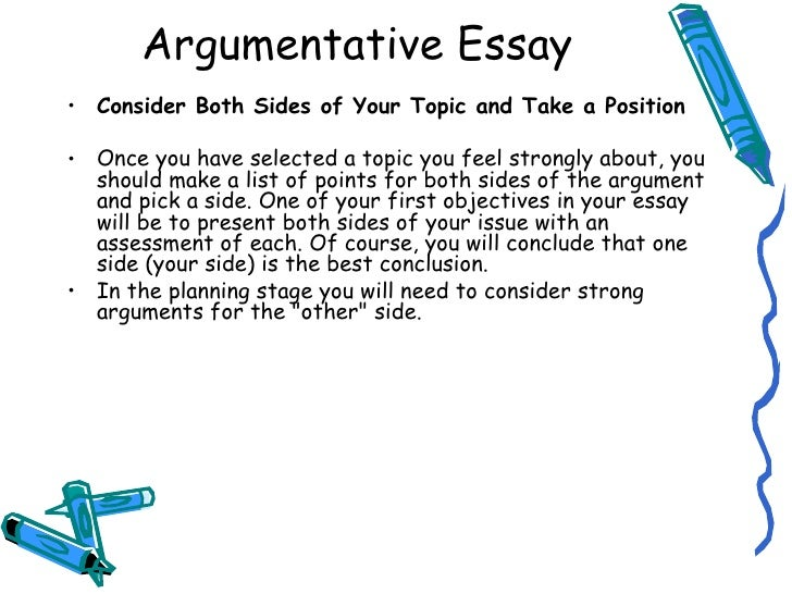 argumentative essay assignment description