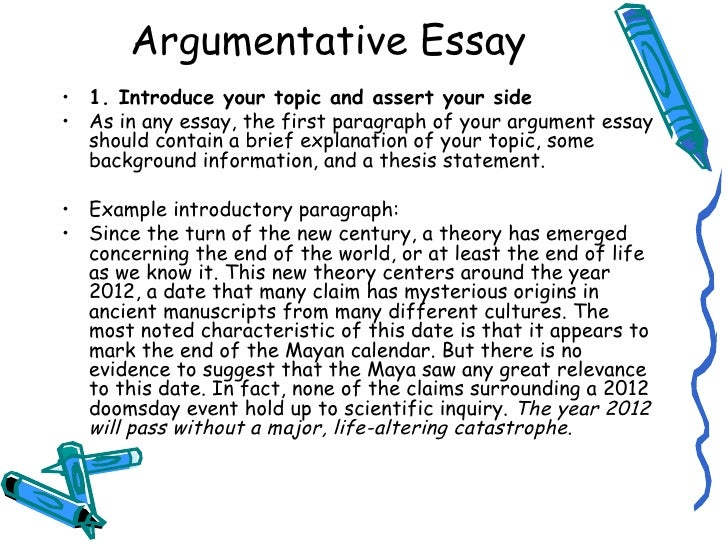 writing introduction of argumentative essay The writer of an argumentative essay should seek to use educated sources that   open with a quotation- another method of writing an introduction is to open.