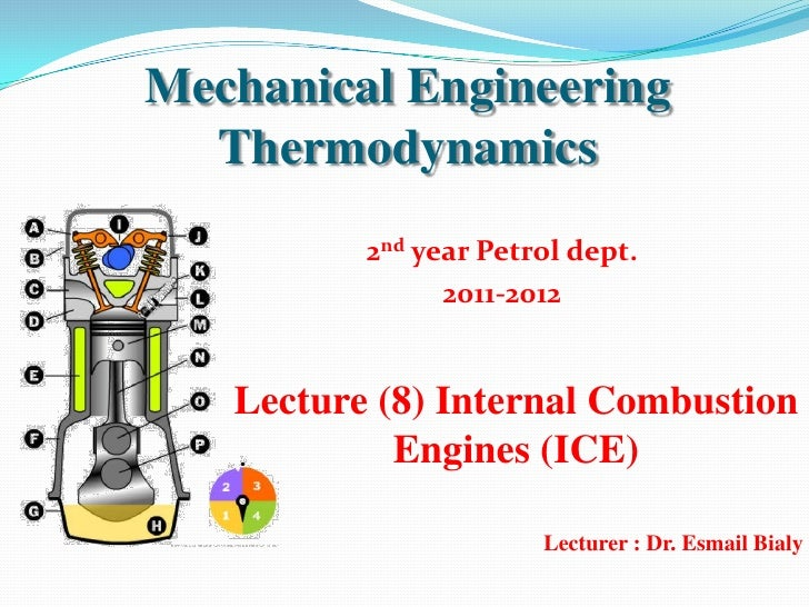 Mechanical Engineering  Thermodynamics          2nd year Petrol dept.                2011-2012   Lecture (8) Internal Comb...
