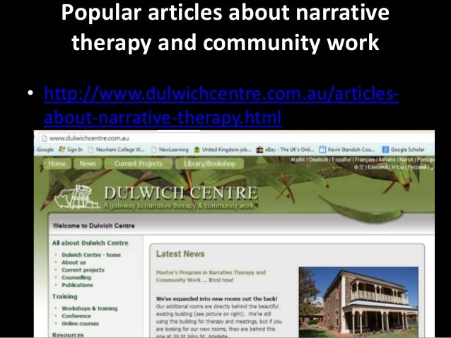 narrative therapy and family therapy essay Introduction narrative approaches to therapy have come to occupy a  central position within the field of family therapy in recent years and this is due in  large part to the  local knowledge: further essays in interpretative  anthropology.
