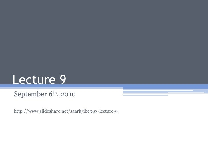 IBE303 Lecture 9