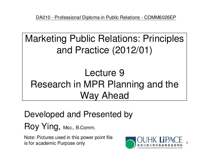 COMM6026 Lecture 9 - research in mpr
