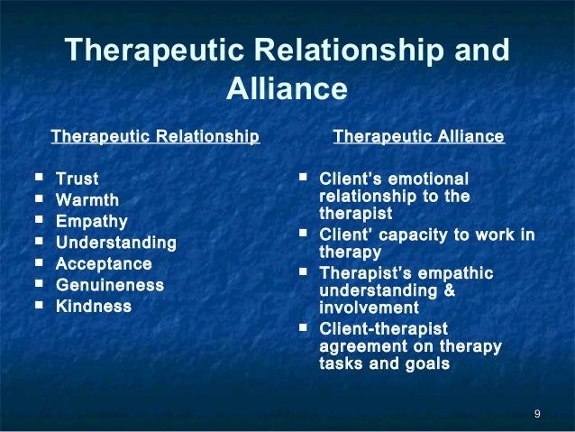 the therapeutic relationship phases effect on Therapeutic alliance has been documented to have a significant impact on   increase therapeutic alliance in the early stages of cross-cultural therapy in order .