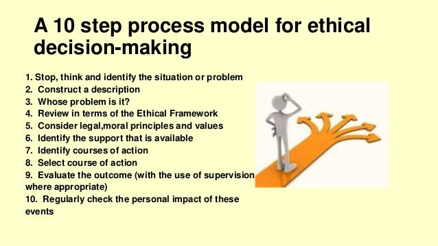 the ethical decision making Does a problem or dilemma actually exist • is this an ethical, legal, moral,  professional, or clinical problem • is it a combination of more than one of these.