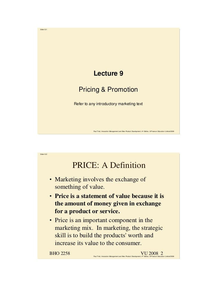 Slide 12.1                                   Lecture 9                          Pricing & Promotion                       ...