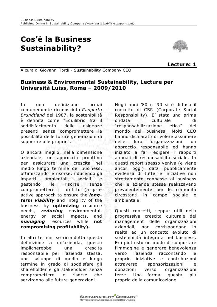Lecture Business Sustainability Giovanni Tordi Amministratore delegato Sustainability Company
