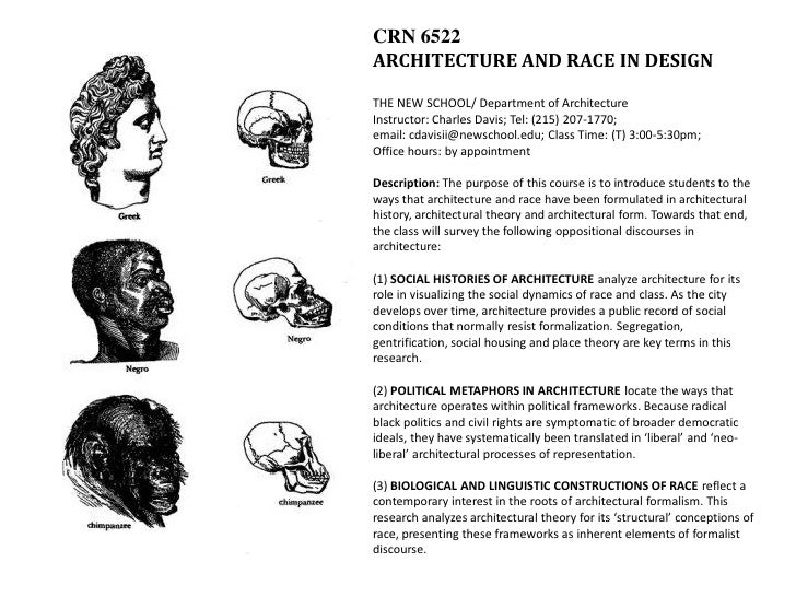 CRN 6522 ARCHITECTURE AND RACE IN DESIGN  THE NEW SCHOOL/ Department of Architecture Instructor: Charles Davis; Tel: (215)...