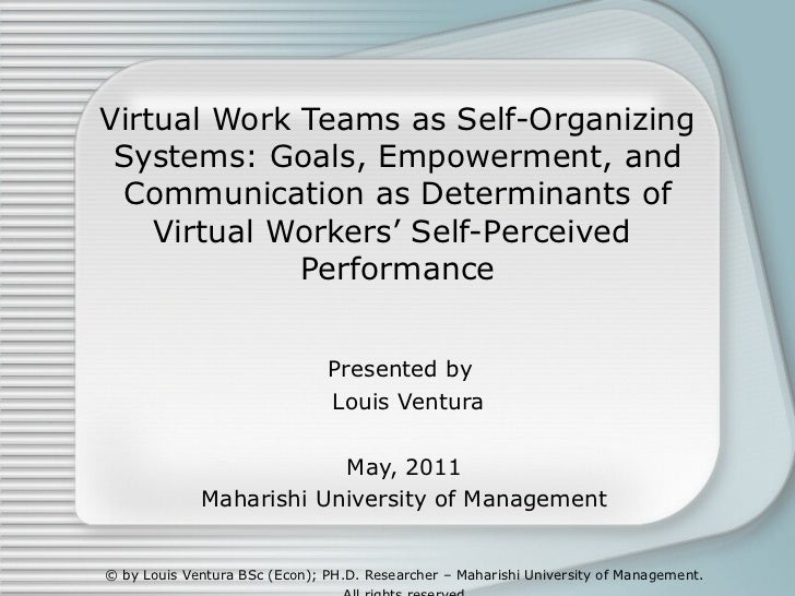 Virtual Work Teams as Self-Organizing Systems: Goals, Empowerment, and Communication as Determinants of Virtual Workers' S...