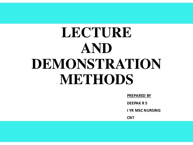 lecture method Teaching method in which information is presented orally to a class with a minimal amount of class participation.
