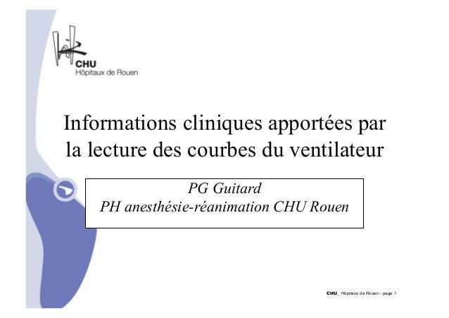 Informations cliniques apportées par  la lecture des courbes du ventilateur  CHU_ Hôpitaux de Rouen - page 1  PG Guitard  ...