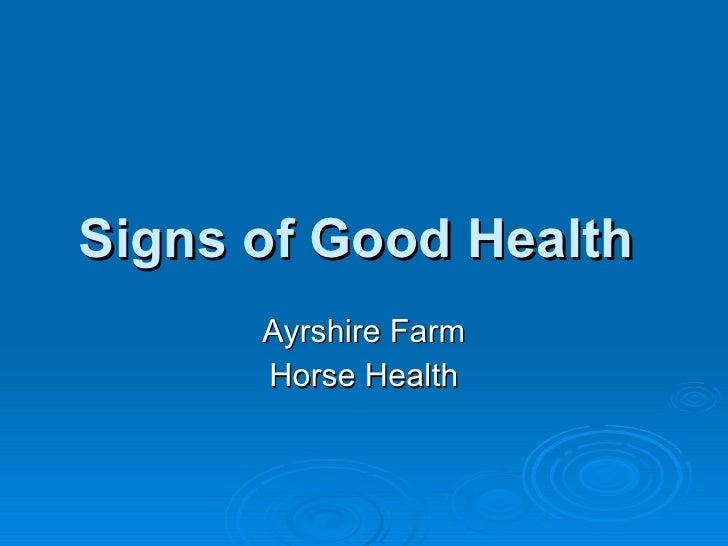 Signs of Good Health  Ayrshire Farm Horse Health