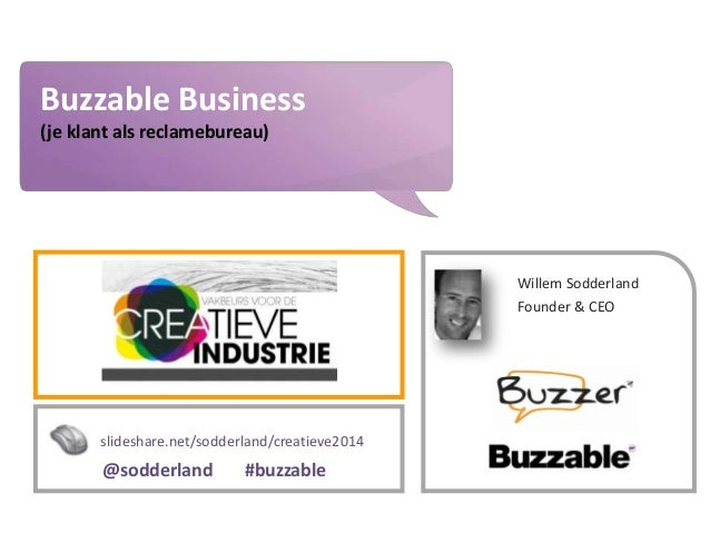 www.buzzer.biz Buzzer©2009-confidential Buzzable Business (je klant als reclamebureau) Willem Sodderland Founder & CEO sli...