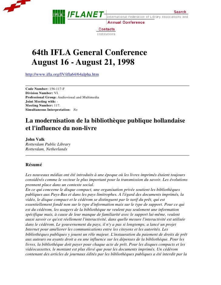 Lecture IFLA General Conference 1998