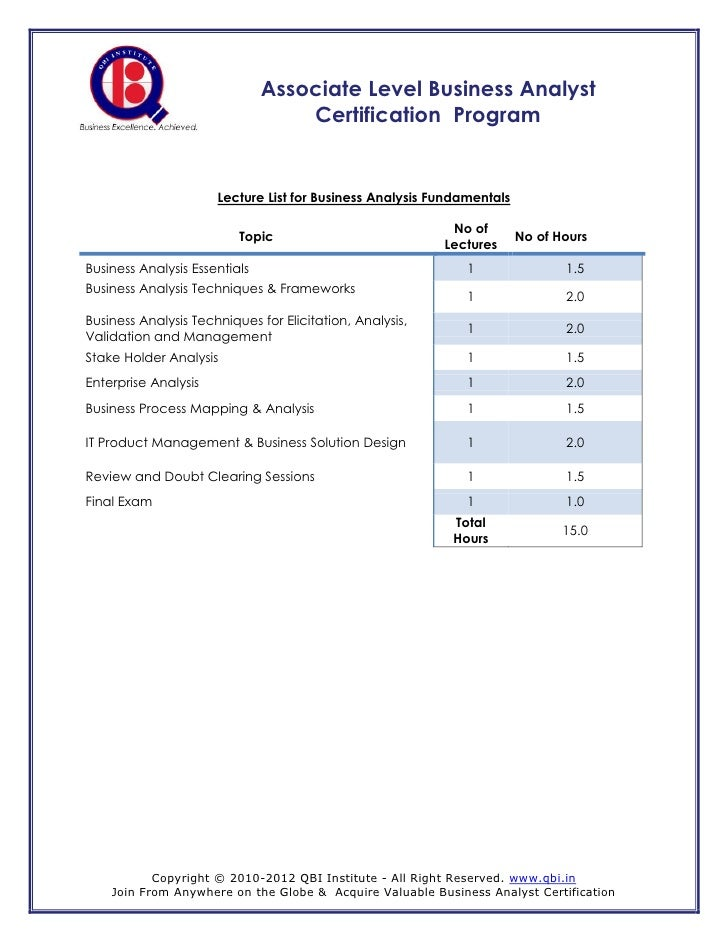 Associate Level Business Analyst                                   Certification Program                      Lecture List...