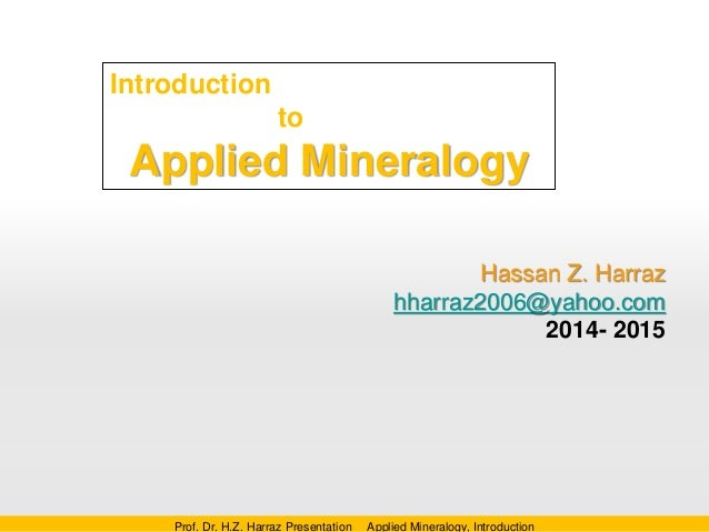 Lecture one applied mineralogy