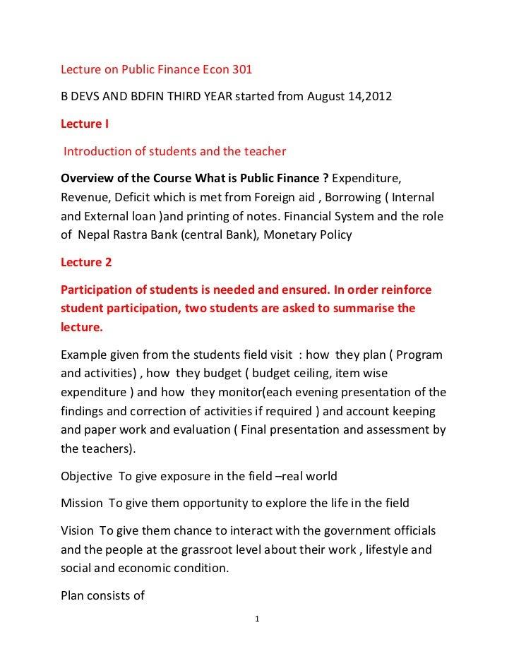 Lecture on public finance ( abridged version)