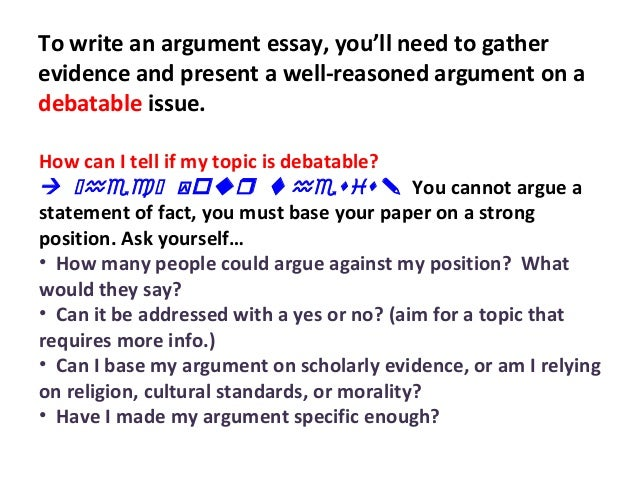 Help writing an argumentative essay