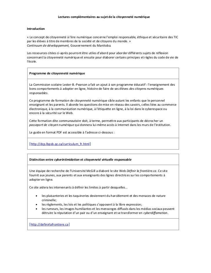 Lectures complémentaires au sujet de la citoyenneté numérique