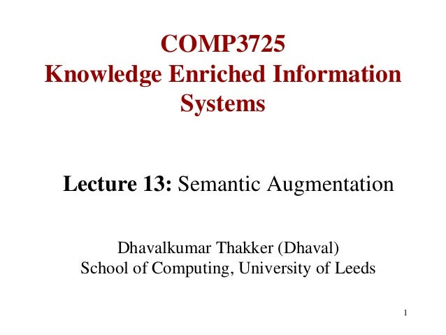 COMP3725Knowledge Enriched Information           Systems Lecture 13: Semantic Augmentation       Dhavalkumar Thakker (Dhav...