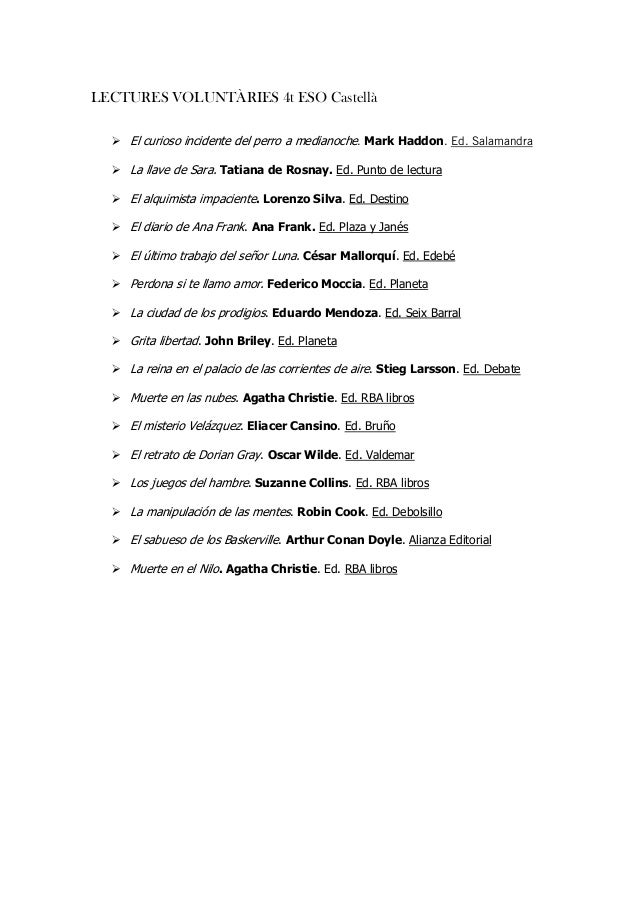 = LECTURES VOLUNTÀRIES 4t ESO Castellà = El curioso incidente del perro a medianocheK=Mark HaddonK=bÇK=p~ä~ã~åÇê~= La llav...