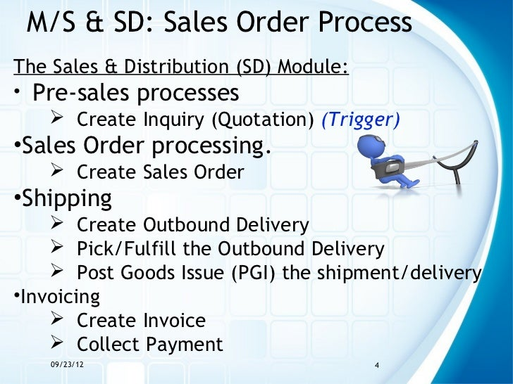 M/S & SD: Sales Order ProcessThe Sales & Distribution (SD) Module:• Pre-sales processes    Create Inquiry (Quotation) (Tr...