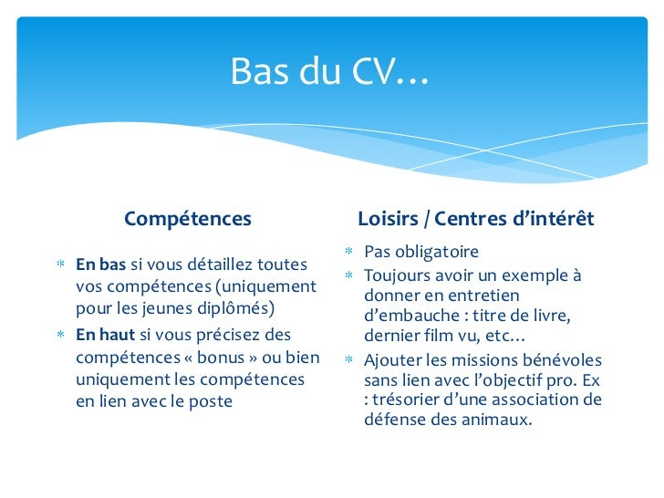 exemple de centre d interet pour un cv