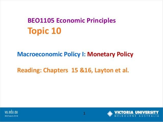 Lec week 10 monetary policy0