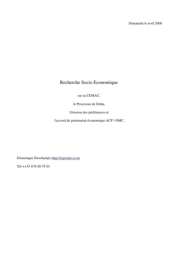 Dimanche 6 avril 2008                                 Recherche Socio Economique                                         s...