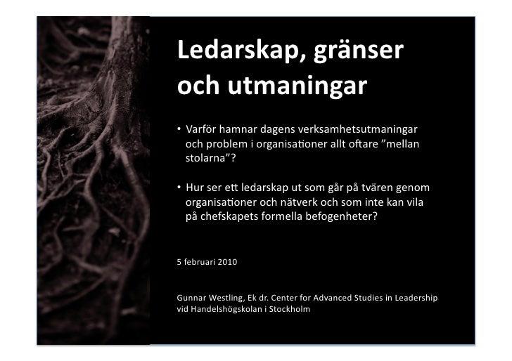 Ledarskap, Gränser och utmaningar Föredrag strålsäkerhetsmyndigheten 20100205