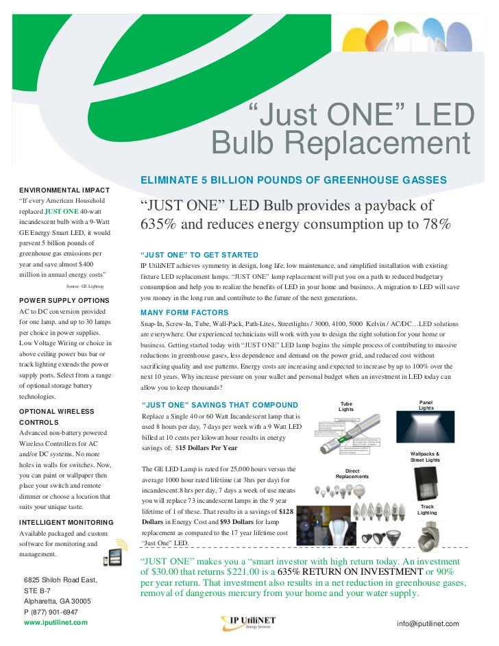 """""""Just ONE"""" LED                                                                Bulb Replacement                            ..."""