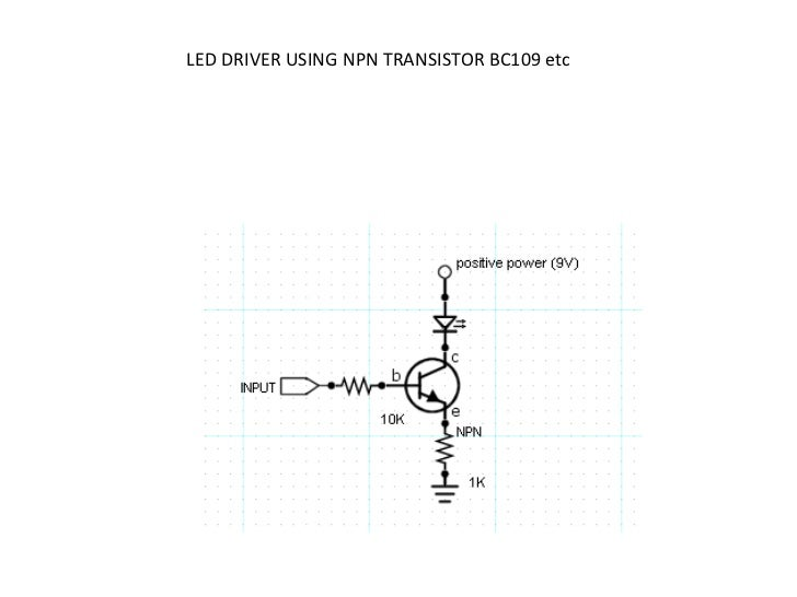 LED DRIVER USING NPN TRANSISTOR BC109 etc