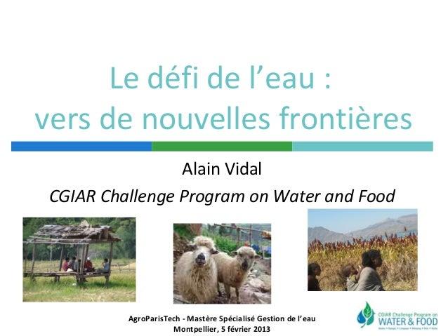 Le défi de l'eau :vers de nouvelles frontières                 Alain Vidal CGIAR Challenge Program on Water and Food      ...