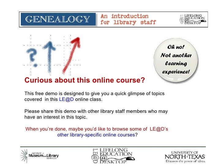"FREE DEMO -  LE@D ""Genealogy: Intro for Libraries"""
