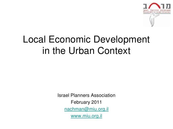 Local Economic Development in the urban context