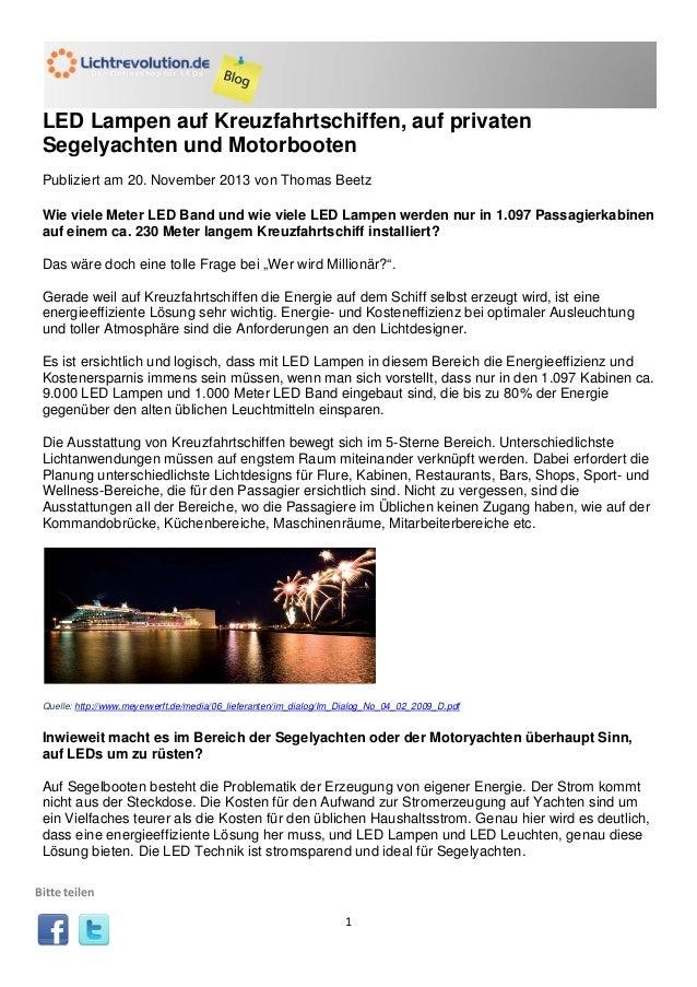 LED Lampen auf Kreuzfahrtschiffen, auf privaten Segelyachten und Motorbooten