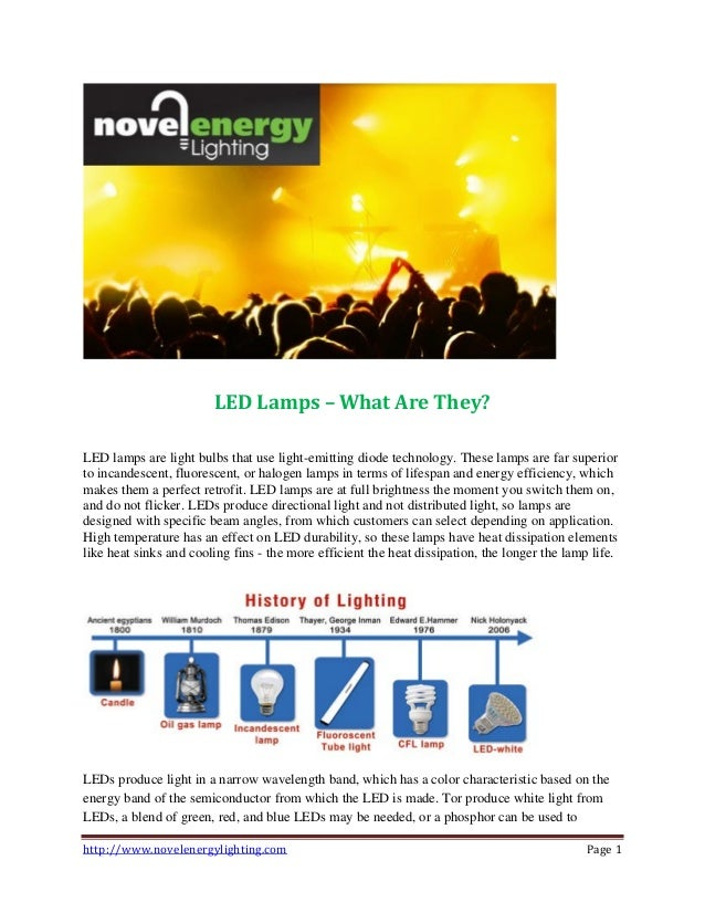 http://www.novelenergylighting.com Page 1 LED Lamps – What Are They? LED lamps are light bulbs that use light-emitting dio...