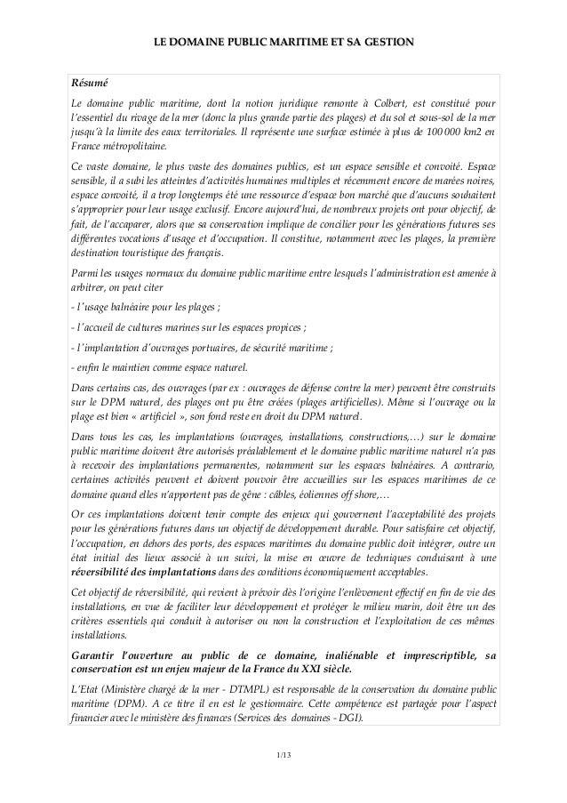 LE DOMAINE PUBLIC MARITIME ET SA GESTIONLE DOMAINE PUBLIC MARITIME ET SA GESTION Résumé Le domaine public maritime, dont l...