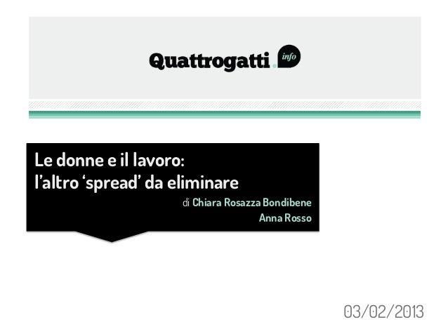 Le donne e il lavoro:l'altro 'spread' da eliminare                    di Chiara Rosazza Bondibene                         ...