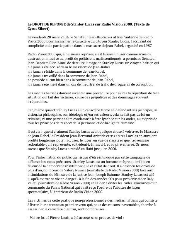 LE DROIT DE REPONSE DE STANLEY LUCAS SUR RADIO VISION 2000 PAR CYRUS SIBERT