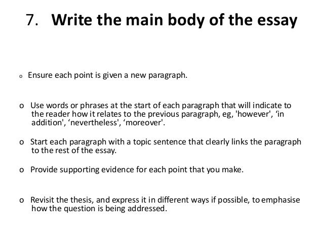 main body essay writing Genres in academic writing: essays the main body consists of one or more paragraphs of ideas and arguments each paragraph develops a subdivision of the topic.