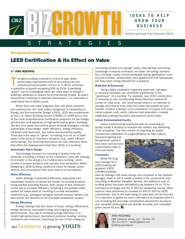 LEED Certification and Its Effect on Value