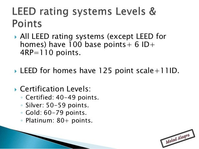 Leed green associate study slides for Leed levels of certification
