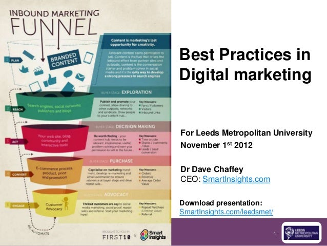 Best Practices inDigital marketingFor Leeds Metropolitan UniversityNovember 1st 2012Dr Dave ChaffeyCEO: SmartInsights.comD...