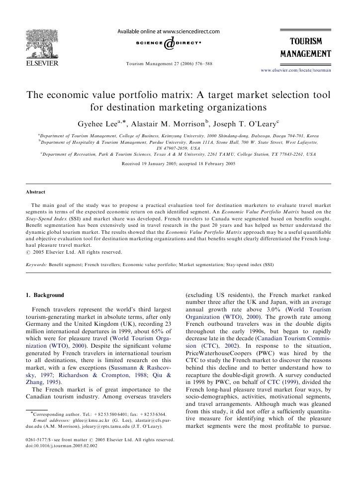 ARTICLE IN PRESS                                                    Tourism Management 27 (2006) 576–588                  ...