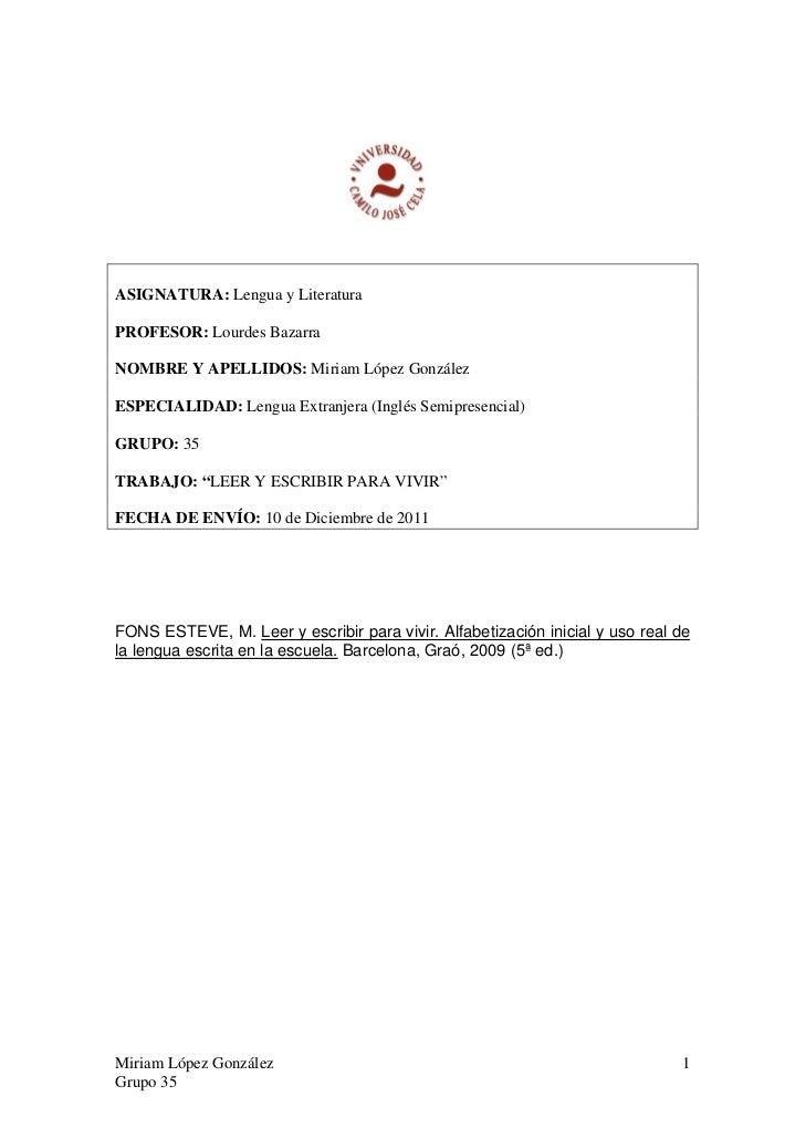 ASIGNATURA: Lengua y LiteraturaPROFESOR: Lourdes BazarraNOMBRE Y APELLIDOS: Miriam López GonzálezESPECIALIDAD: Lengua Extr...
