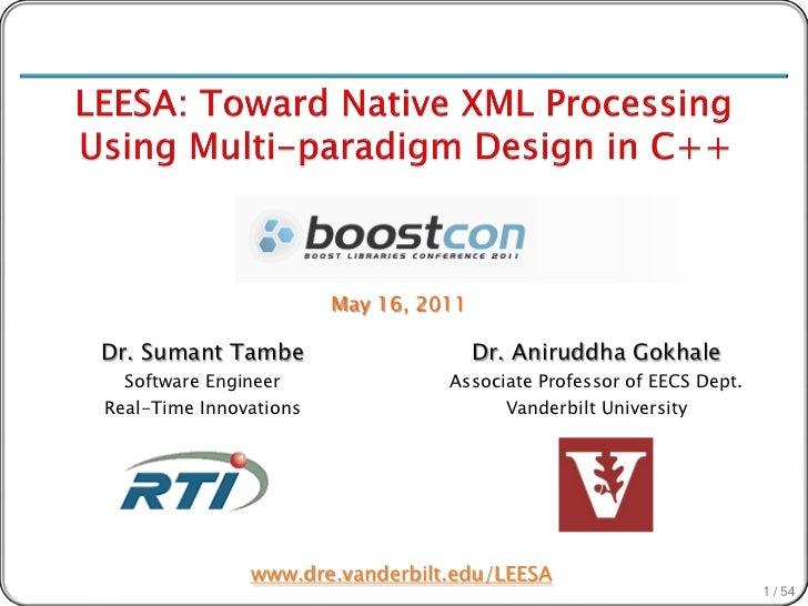 LEESA: Toward Native XML Processing Using Multi-paradigm Design                            in C++                         ...