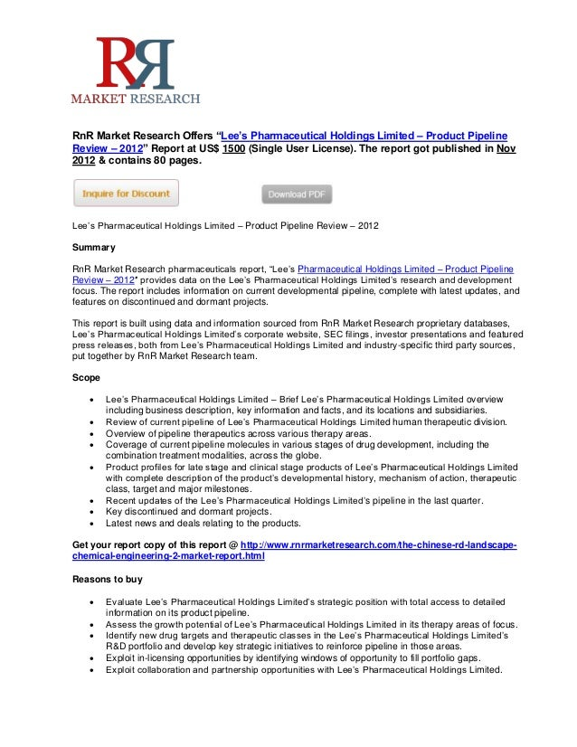 Lee's Pharmaceutical Holdings Limited Product Pipeline Review to 2012